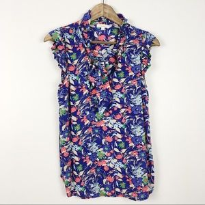 Anthro Porridge Floral Tie Neck Ruffle Top